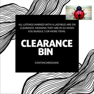 🐞 Clearance items are marked with 🐞